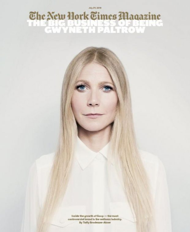 Gwyneth Paltrow con su negocio Goop en la portada de The New York Times Magazine del 29 de julio de 2018.
