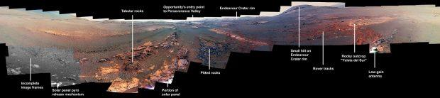 Mosaico de 354 imágenes tomadas por el Opportunity en el cráter Endeavour antes de desactivarse. Imagen de NASA/JPL-Caltech/Cornell/ASU.