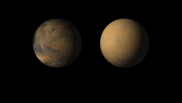 Imágenes de Marte tomadas por la sonda Mars Reconnaissance Orbiter, antes y después de la gran tormenta de polvo de junio de 2018. Imágenes de NASA/JPL-Caltech/MSSS.