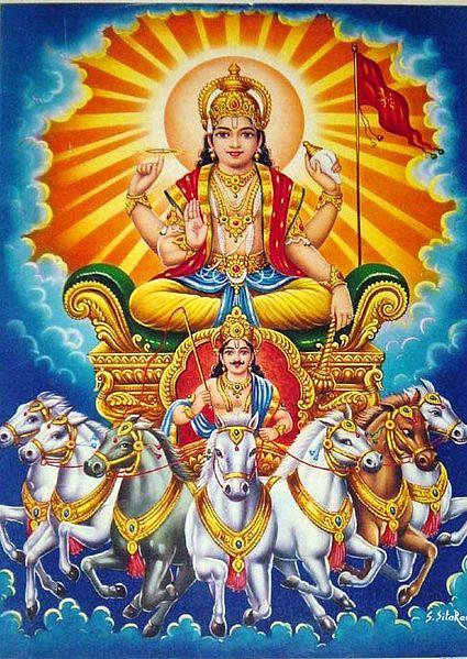 Suria, dios hindú del sol. Imagen de Bazaar Arts / Wikipedia.