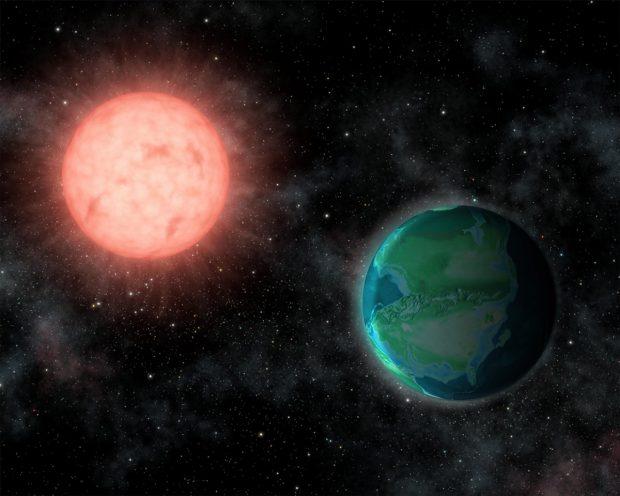 Ilustración de un planeta habitable en la órbita de una estrella enana roja. Imagen de Jack O'Malley-James/Cornell University.