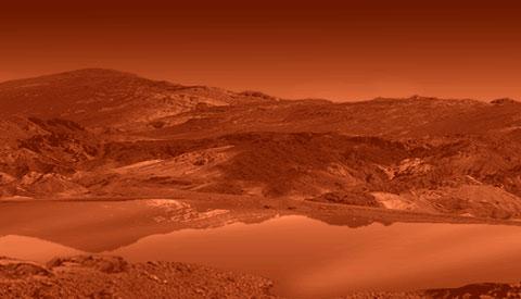Ilustración artística de la superficie de Titán. Imagen de NASA / JPL.