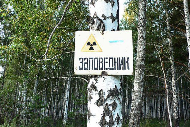 Una señal de advertencia de contaminación radiactiva en la zona de Mayak, en Rusia. Imagen de Ecodefense, Heinrich Boell Stiftung Russia, Alla Slapovskaya, Alisa Nikulina / Wikipedia.