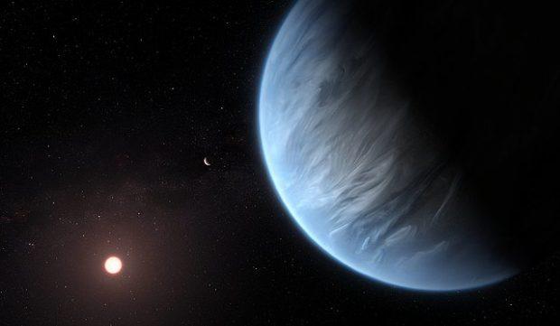 Ilustración artística del exoplaneta K2-18b. Imagen de ESA / Hubble, M. Kornmesser.