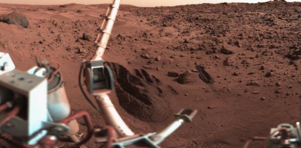 Imagen de la sonda Viking 1 en Marte. Imagen de Roel van der Hoorn / NASA / JPL / Wikipedia.