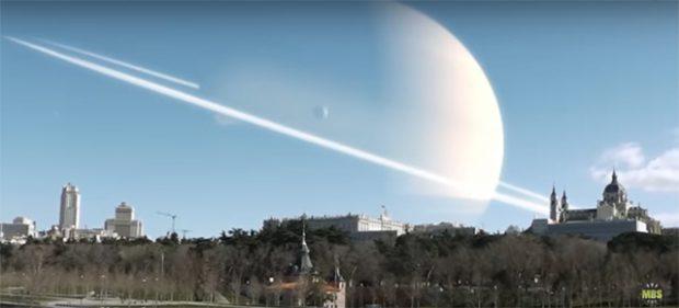 Saturno sobre Madrid. Imagen de Álvaro Gracia Montoya / MetaBallStudios / YouTube.