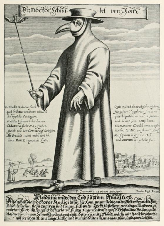 El médico de la peste, grabado de 1656. Imagen de Wikipedia.