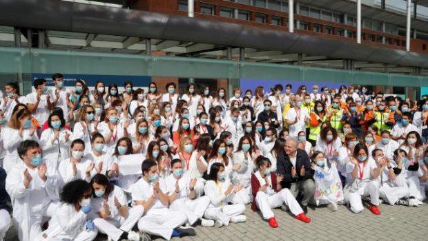 Imagen del acto de cierre del hospital de IFEMA el pasado 1 de mayo. Imagen de Naranjo / Efe / 20Minutos.es.