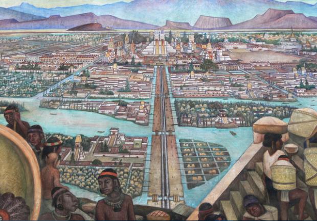 Recreación de Tenochtitlán. Imagen de Ckn8u / Wikipedia.
