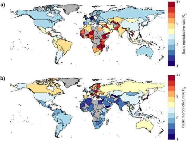 Mapas de estimaciones de R0 de COVID-19 por países. Imagen de Hilton y Keeling, PLOS Computational Biology 2020.