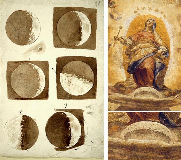 Dibujos de la Luna de Galileo y Virgen de Cigoli