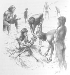 Figura 2. Este dibujo recrea una escena cotidiana de las sabanas africanas del Pleistoceno Inferior (hace unos dos millones de años), en las que nuestros ancestros daban buena cuenta de una presa. Las herramientas de piedra podían construirse en el mismo lugar, para después ser abandonadas. Dibujo realizado por Eduardo Saiz.