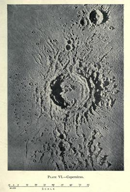 Fotografía de un molde de escayola construido por Nasmyth recreando la región del cráter Copérnico. Publicada en 'La Luna: considerada como un planeta, un mundo y un satélite' (1874).