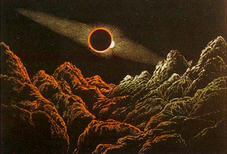 El Sol eclipsado por la Tierra visto desde la Luna. / Ilustración de James Nasmyth.