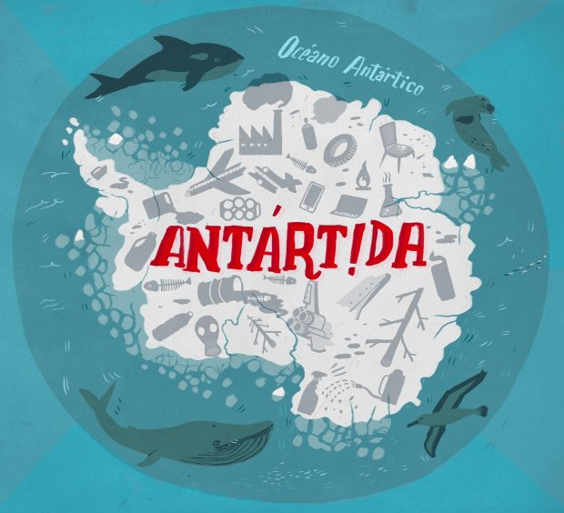 Nuestro estila de vida deja una rastro químico que llega hasta la Antartida. Ilustración cortesía de Olga de Dios.