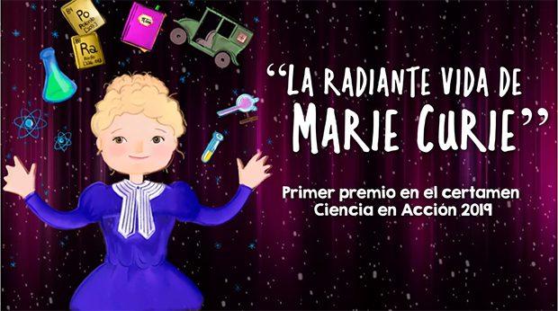 Portada de la obra de teatro La radiante vida de Marie Curie, dentro de los vídeos del programa Ciencia en Navidad