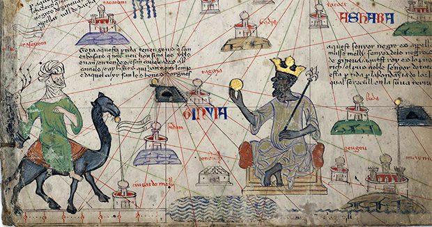 Fragmento del Atlas Catalán (1375) atribuido al iluminador Cresques Abraham y conservado desde el mismo siglo XIV por la Biblioteca Real de Francia, actualmente la Bibliothèque National de France