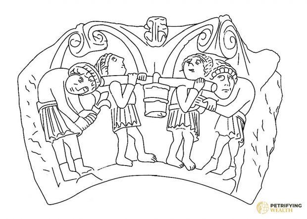 Vista completa de la escena representada en el capitel del monasterio de San Pedro de Valdecal (Palencia). / © Javier M. - Proyecto Petrifying Wealth