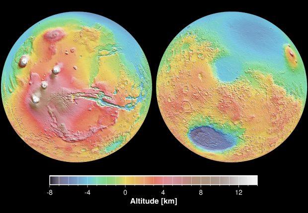 Mapa topográfico de Marte. / NASA/JPL