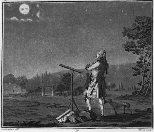 Bernard Le Bovier de Fontenelle meditando sobre la proliferación de mundos, 1791./ Jean Baptiste Morret