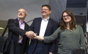 Ximo Puig con Mónica Oltra y Antonio Montiel