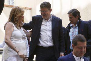 Susana Díaz saluda a Ximo Puig, flanqueada por García Page y Javier Fernández