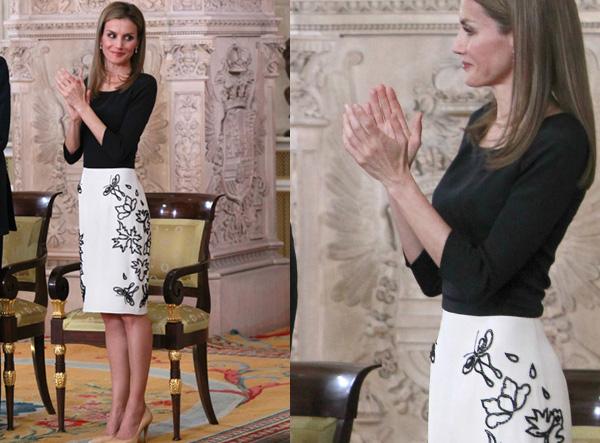 Este original vestido davidelfiniano, que tanto sorprendió, fue el que eligió para el día de la abdicación del Rey Juan Carlos
