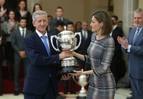 Queen Letizia Ortiz and Gonzalo Marin at the Sports National Awards at 'El Pardo' palace in Madrid, Spain, on November 17th, 2015