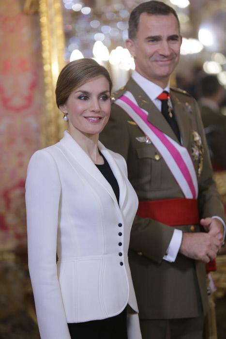 Los Reyes de España Felipe VI y Letizia Ortiz durante la Pascua Militar