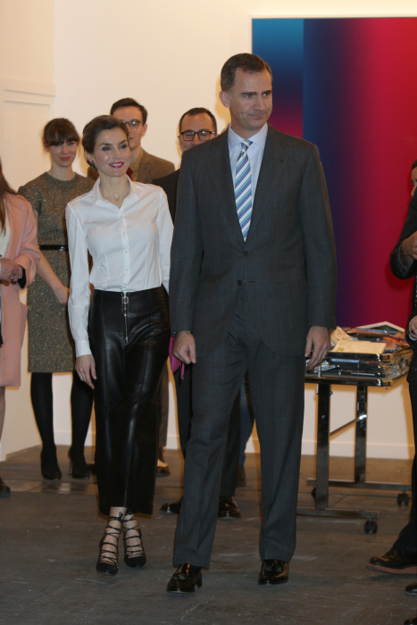 "Spanish Kings Felipe VI and Queen Letizia during the inauguration of the 35th edition of the International Contemporary Art Fair "" ARCO "" in Madrid, on Thursday 25, February 2016."