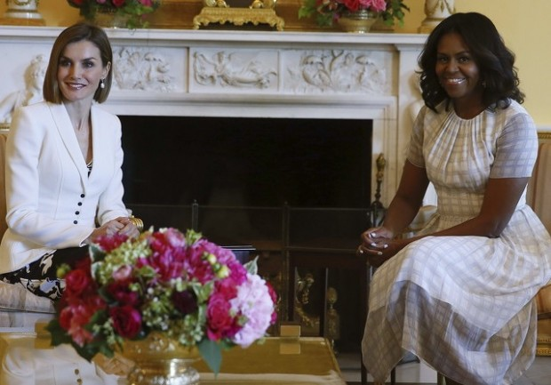 Letizia y Michelle toman el té, en septiembre de 2015 en La Casa Blanca
