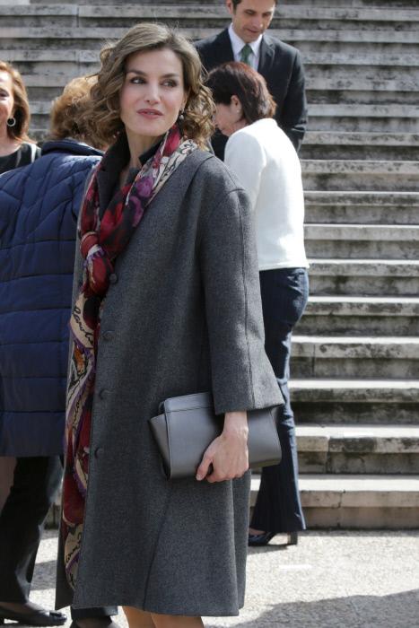 """La reina de España Letizia Ortiz durante la inauguración de la exposición """"Miguel de Cervantes: De la vida al mito(1616-2016)"""". 04/03/2016 Madrid"""