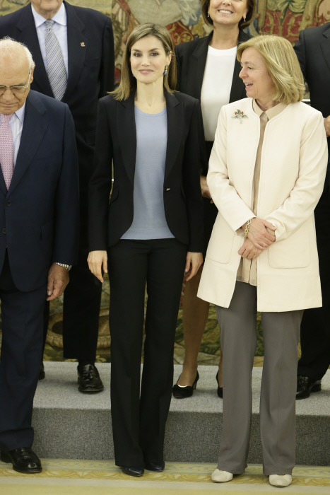 "Queen Letizia and Catalina Luca de Tena receives in audience representatives of the project ""Communication and Education advertising Values"" Help Foundation Drug Addiction (FAD) in Madrid Friday April 1, 2016 in Madrid Friday April 1, 2016"