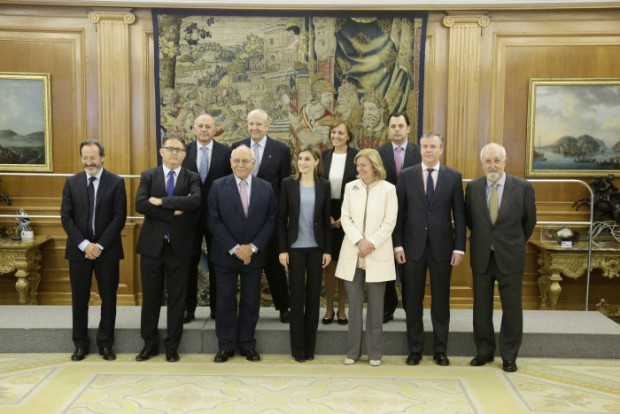 "Queen Letizia receives with  Ignacio Bayon Marine and Catalina Luca de Tena in audience representatives of the project ""Communication and Education advertising Values"" Help Foundation Drug Addiction (FAD) in Madrid Friday April 1, 2016 in Madrid Friday April 1, 2016"
