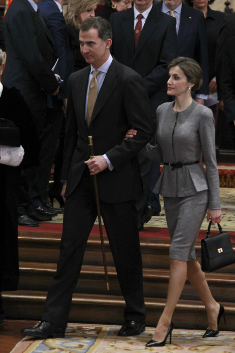 Spanish Kings Felipe VI and Letizia at the University of Salamanca during the investiture as honorary doctors Victor Garcia de la Concha, director of the Cervantes Institute, and Jose Narro Robles, former Rector of the Autonomous University of Mexico, in Salamanca on Tuesday, April 5th 2016