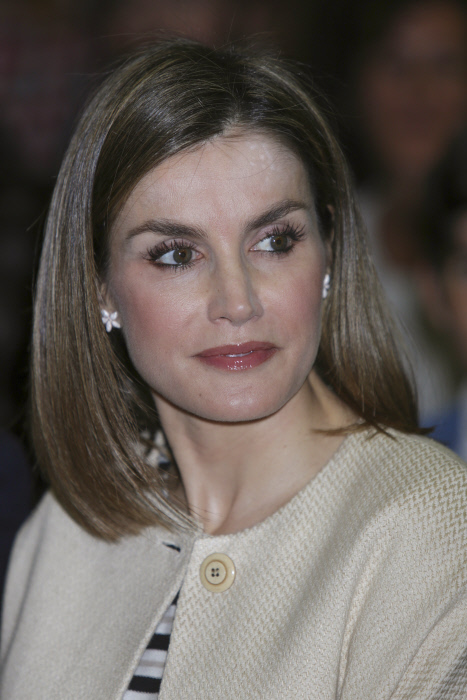"""Spanish Queen Letizia during the announcement of the prizewinner """"Fundacion Princesa de Girona 2016"""" in Madrid on Tuesday 26, April 2016"""