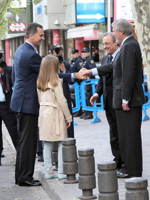 Spanish King Felipe VI and Princess Sofia with Florentino Perez and Iñigo Mendez de Vigo arriving at the Champions League game in Madrid, Spain, Wednesday, May 04, 2016.