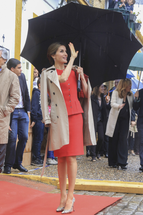 Queen Letizia of Spain during a visit to La Rinconada, Sevilla