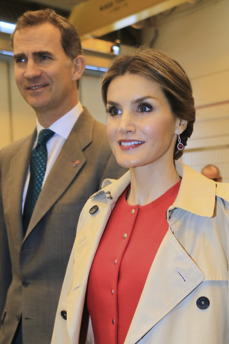 King Felipe VI and Queen Letizia of Spain during a visit to La Rinconada, Sevilla