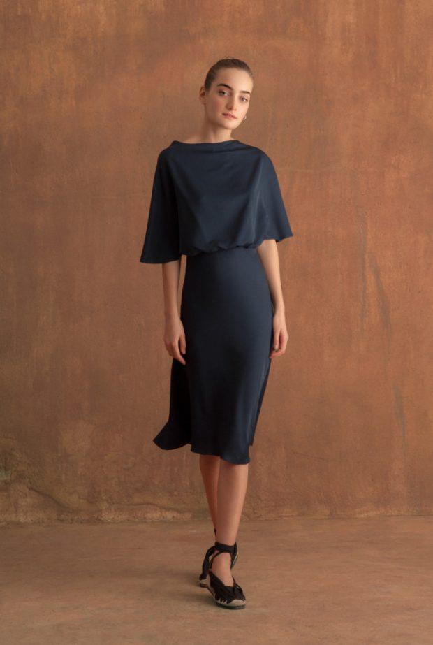 Vestido Valentina corto english blue, 100% seda