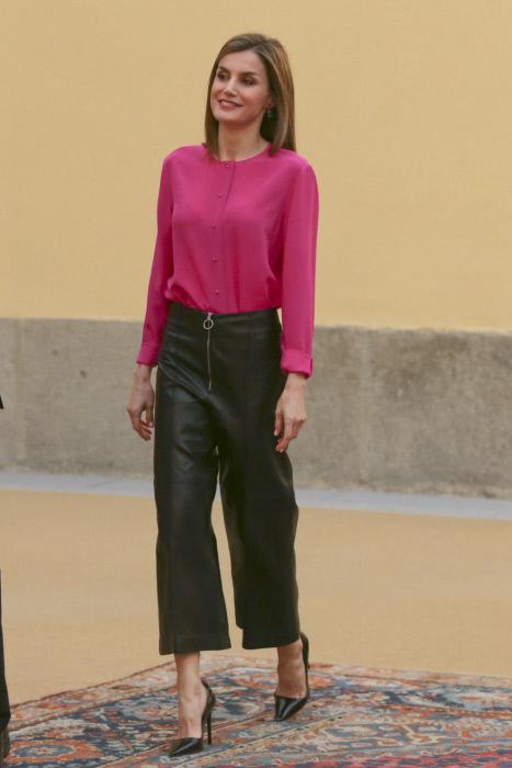 La reina Letizia Ortiz durante una reunión con el patronato de la Fundación Princesa de Asturias en el Palacio del Pardo. 15/06/2016 Madrid
