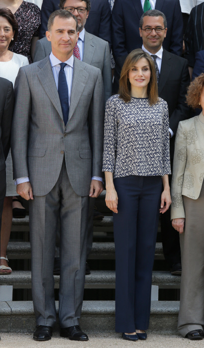 Spanish King Felipe VI and Queen Letizia during an audience with the Foundation Board of the United World Colleges in Madrid on Friday 24, June 2016
