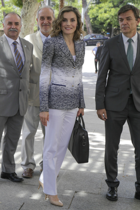 "Queen Letizia of Spain attends the course ""Hamber zero: it is possible"", organized by the Complutense University of Madrid, in the Course Summers in San Lorenzo de El Escorial, Madrid, on Tuesday, June 28, 2016"
