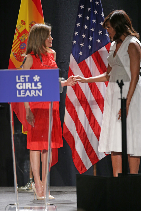 "Queen Letizia and U.S first lady Michelle Obama during "" Let Girls Learn "" in Madrid, on Thursday 30 June, 2016."