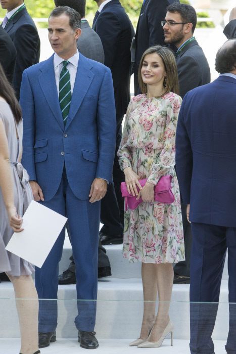 The Kings of Spain, Felipe VI and Letizia Ortiz during the delivery of scholarships for Masters and research grants from the Iberdrola Foundation in Madrid on Tuesday, July 5, 2106