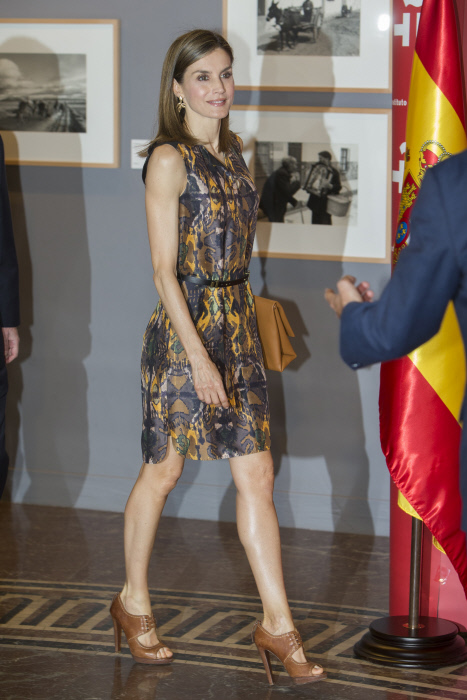 Spanish Queen Letizia at the annual meeting of the directors of the Cervantes Institute in Madrid on Wednesday July 27, 2016
