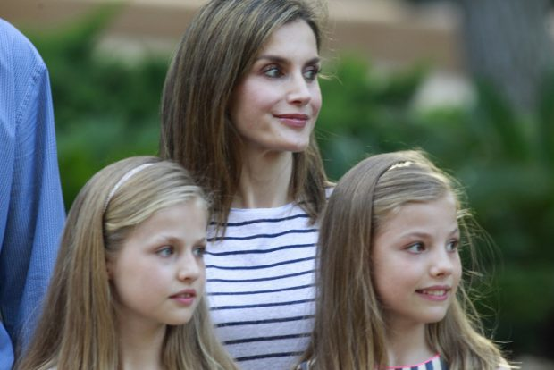 Spanish Queen Letizia with Princess Leonor and Infant Sofia de Borbon during a summer photo session at their residence Marivent Palace, Mallorca, on Thursday 4th August, 2016.