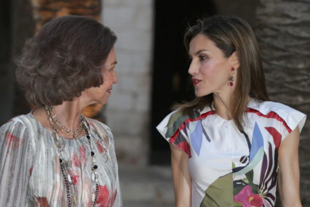 Queen Sofia and Queen Letizia during a reception at the AlmudainaPalace in Palma de Mallorca. 07/08/2016