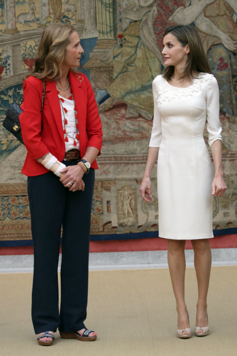 Spanish Queen Letizia Ortiz, Infant Elena of Borbon attending royal audience with participants of the Olympic medals and diplomas and Spanish Paralympic Games participants in Rio 2016