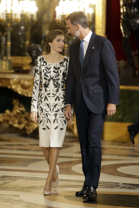 King Felipe VI of Spain and Queen Letizia attending a reception at Royal Palace during the known as Dia de la Hispanidad, Spain's National Day, in Madrid, on Wednesday 12 October, 2016